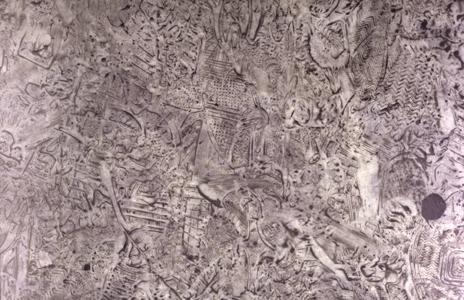 Schlammspuren,(Marmorschwelle im Kaiserpalast, Beijing)