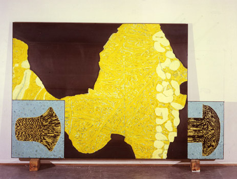 Eine von 5 Wandarbeiten, ca. 350x200 cm   Detail eines Magnesiumchromsteines Holz, Walzstahlblech 4 mm, Acryl, Siebdruck 340x200 cm